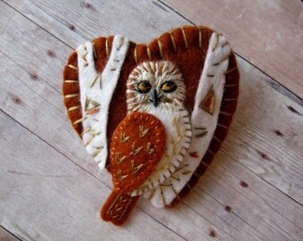 Owl in Birch Forest Brooch - Made to Order Embroidered Jewelry