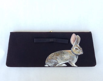 Vintage 1950s black evening clutch handpainted with Desert Cottontail Rabbit - one of a kind, vegan