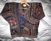 COOGI Australia Sweater Mens S Cotton, Long Sleeve V Neck Colorful 3D Patterned Jumper, Frog Snake Horse Geometric Textured Color WILD Multi