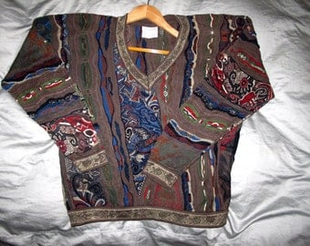 COOGI Australia Sweater Mens S Cotton, Long Sleeve V Neck Colorful 3D Patterned Jumper, Frog Snake Horse Geometric Textured Color WILD Multi