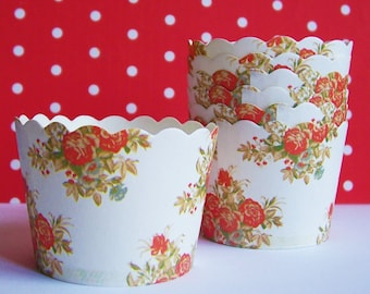 20 Floral Baking Cups Candy Nut Cups Stand Alone