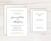 Elegant Art Decor Gold and Black Wedding Invitation Suite