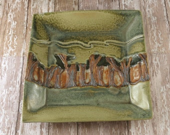 Pottery Mission Style Plate or Bowl - Medium Woodland Path - Arts and Crafts Influence - Original by Botanic2Ceramic - 838