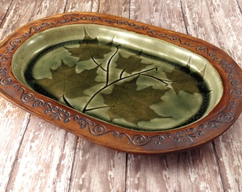 Decorative Ceramic Plate - Handmade Pottery Serving Plate - Nature Inspired Dinnerware - Fern - Artisan Pottery by Sue Capillo - 669