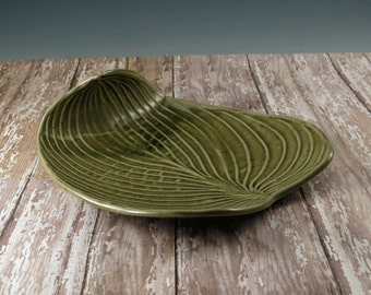 Handmade Pottery Bowl - Decorative Ceramic Hosta Leaf - Celedon Green Leaf Bowl - 783