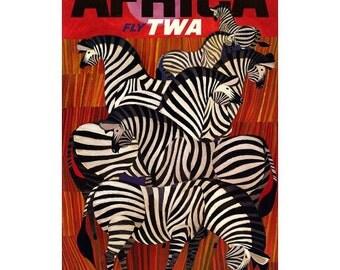 "18x24"" Poster Print Zebra Africa TWA Travel Poster Art Deco Red Black"