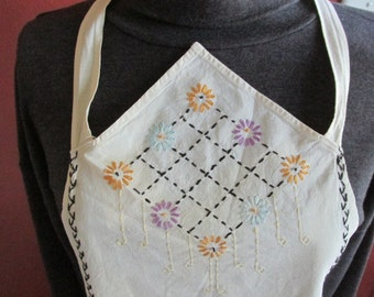 Full Apron Embroidered Muslin from the 1940s