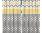 Custom Window Curtain, Dot and Chevron with Accent Colors,  Any Size -  Any Colors