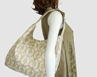 SALE - 20% off! Large Hobo Shoulder Bag,  Jacquard Fabric Handbag, Beige & gold handbag, slouchy hobo shoulder bag, women's fashion bag