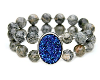 Blue Druzy Spider Web Jasper Beaded Stacking Sleek Sparkle High Fashion Goth Chic Flare Rock Goddess Style by Mei Faith