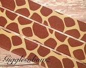 """5yd Giraffe Print Grosgrain Ribbon- 7/8"""" Grosgrain Ribbon- Scrapbooking Supplies- Hair Bow Supplies- Diy Bows- Hair Ribbon"""