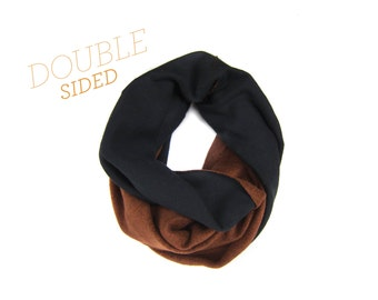 Double Sided Infinity Scarf - Sweatshirt Fleece Circle Scarf in Pumpkin Spice/Dark Chocolate - Q
