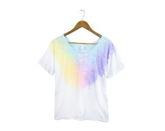 "Diamond Pastel Rainbow Tee - Original ""Splash Dyed"" Hand Painted Relaxed Fit Flowy Scoop Neck T-shirt in White - Women's S-2XL"