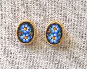 Mosaic Floral Clip On Earrings