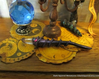 Amethyst Crystal Tipped Wand dollhouse miniature, spooky, witch, wizard, magic, fairy, Halloween in 1/12 scale