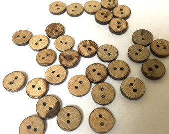 Tiny Coconut wood buttons, matching wood buttons, 11.5 mm (1/2 inch),  CHOOSE 25, 50, or 100 pcs