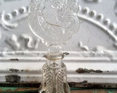 Art Deco Cut Glass Perfume Bottle Huge Peacock Bird Topper clear cyrstal Glass