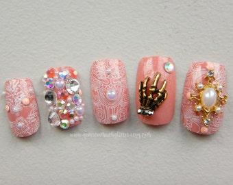 Pastel Goth Nails, Fake Nails, Press On Nails, Pink Pastel Goth, Lolita, Princess, Cosplay, Kawaii, Fake Nails, Japanese 3D Nail Art