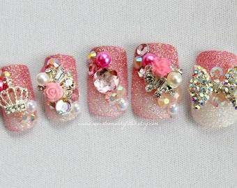 Kawaii Nail Princess Rose 3D False Nails- Pink Glitter Press On Nails, 3D Fake Nail, Japanese Nail Art,  Princess Hime Cosplay, Glitter Nail