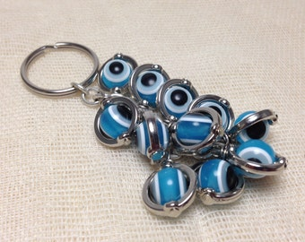 Greek evil eye keyring - light blue - Greek amulet - Car/home gift - Made in Greece - Greek amulet - Lucky eyes - Car accessories