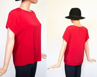 Vintage Perfect Fit Draped Box Top / 80s Slouchy / 1980s Dolman Shirt  / Boxy Blouse / Minimalist / Red / Small
