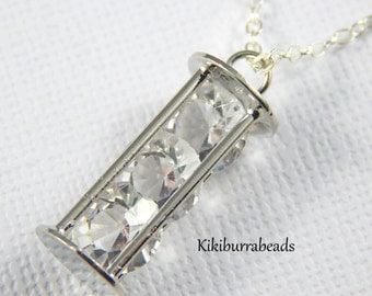 Hour Glass Charm Necklace, Silver charm Necklace, Crystal pendant Necklace, Sterling Silver Chain