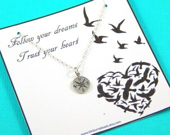 Compass Necklace, Friendship necklace, Best Friend Gift, Compass Charm, Graduation Gift
