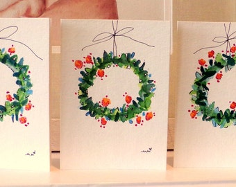"Three Christmas Wreaths Watercolor Original Cards 3 1/2"" x 4 7/8""  With  Envelope  Blank Inside betrueoriginals"