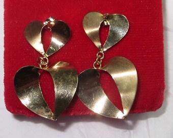 14kt 14k Solid Yellow Gold Dangle Heart Earrings Pierced