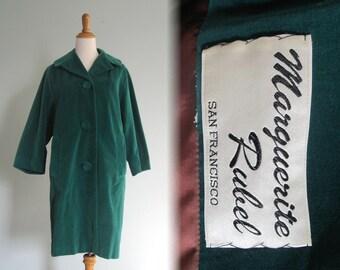 Vintage 1960s Coat - Lovely Emerald Green Velvet Evening Coat - 60s Green Velvet Coat M