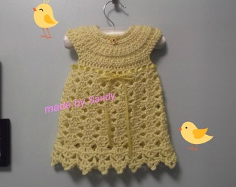 Elegant Crochet Baby Dress - 3 months - ready to ship