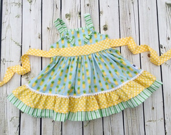 Girls Pineapple Dress- Aloha- by Melon Monkeys- Summer 2016