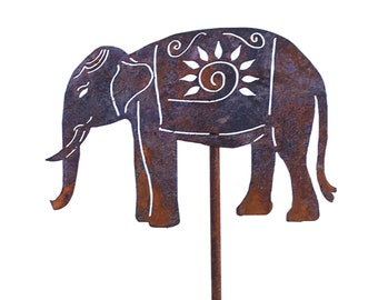 Elephant Metal Garden Art Stake Home Garden Decor Perfect Christmas Gift