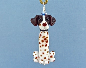 German Shorthaired Pointer Ornament or Pendant - Lampwork Glass Bead SRA