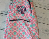 Personalized Tennis Racket Cover Bag Coral Geometric Print