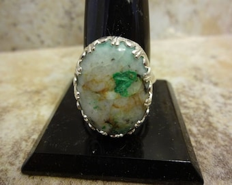Sterling Silver Granite Turquoise Ring - Size 10 - FREE RESIZING - Dinner Ring