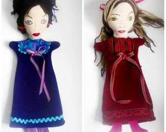 Mean Stepsisters -from Beauty and the Beast or Cinderella -Hand Puppets- Made to order