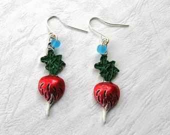 Harry Potter Luna Lovegood earrings Radish earrings cute collectible vegetable earrings handpainted