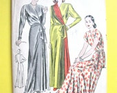 Unused 1940s Vogue 6121 Housecoat  Negligee Hostess Gown Godet Gathered Plastron Surplice Cap Sleeves Vintage Sewing Pattern Bust 44 Hip 47