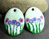 Pastel Floral Enameled Copper Oval Earring Pair, Mint Green Purple Blue Red White Earring Charms, Torch Fired Enamel, Sgraffito, Summer
