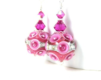 Hot Pink Glass Dangle Earrings, Encased Raised Bubble Lampwork Earrings, Unique Earrings, Unusual Earrings, Cute Earrings, Funky Earrings