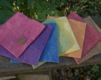 Rainbow Sampler with Earth Tone--Wool Rayon Felt--4 by 4 Inches--8 Sheets--Plant Dyed