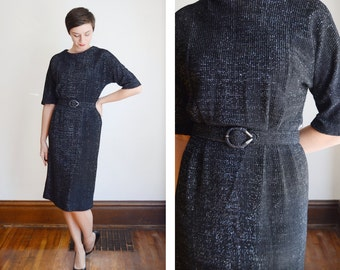 1950s Black and Silver Wiggle Dress - M