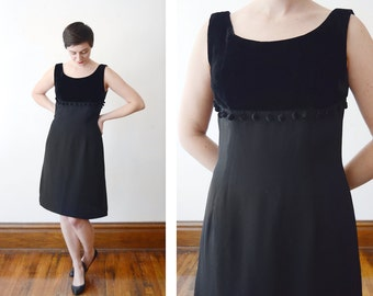 1960s Black Pom Pom Dress - M