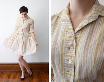 1950s Yellow and White Striped Shirt Dress - S