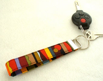 Fabric Key Fob Wristlet Key Fob Keyring Keychain Luella Doss Fabric Up for Air Colorful Hot Flash Handmade MTO