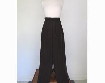 YOKO // 1980s black silky minimalist trousers / M
