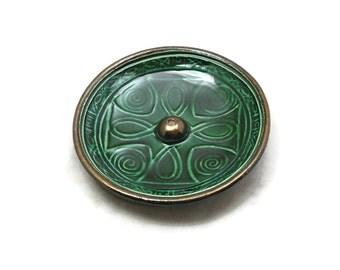 INCENSE BURNER POTTERYCeltic Cross Emerald Green Handmade Ceramic