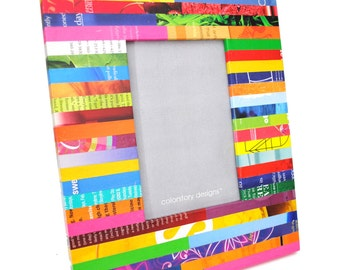 multi-colored picture frame - made with recycled magazines - bright, unique, recycled, colorful, 4x6, frame, stripes, modern,interior design