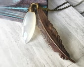 White Chalcedony Gemstone Feather Necklace, Antiqued Brass Feather Charm Necklace, Bohemian Jewelry,  Long Layering Necklace, Free Shipping